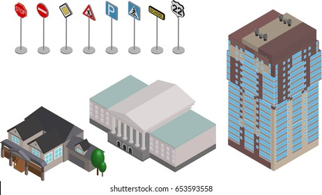 Vector isometric buildings and Road Signs