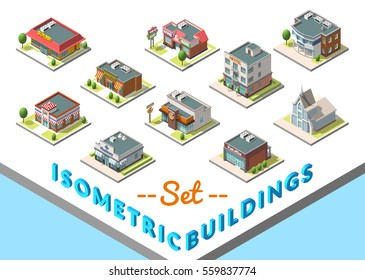 Vector isometric buildings set. Isolated on white background. Included hotel, cafe, church, police, post, burger