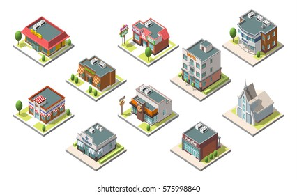 Vector isometric buildings set. Isolated on white background. Included hotel, cafe, church, police, post burger