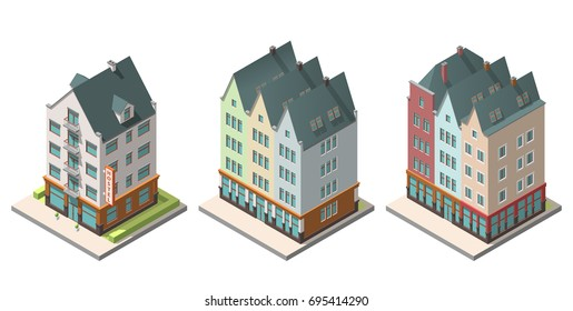 Vector isometric buildings set. Isolated on white background. Included hotel, old residential building
