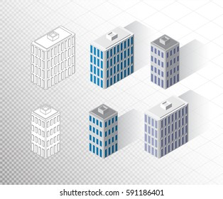 Vector isometric buildings set. Skyscrapers icons. Big city collection. Colorful, two colors and outline black and white wireframe color variants.