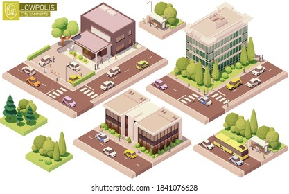 Vektorisometrische Gebäude und Straßenelemente. Häuser, Häuser und Büros. Bushaltestelle, Baumautos und Leute. Bauelemente für die Isometrie von Stadt- oder Stadtplan