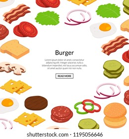 Vector isometric burger ingredients background with place for text illustration. Banner and poster template