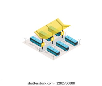 Vector isometric bus station terminal