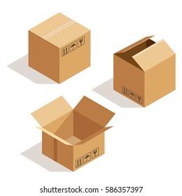 Vector isometric cardboard box.  Box icon, box isolated illustration
