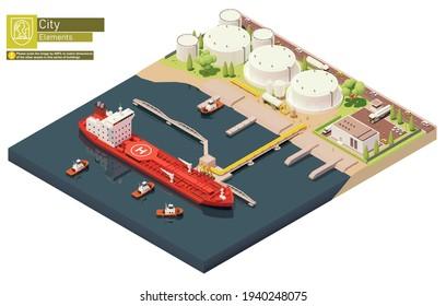 Vektor isometrische Ladungshafen Öl-Lager mit Tankschiff. Tankerladung Öl am Rohölhandelterminal. Bunkerung des Schiffes bei der Ölspeicherung
