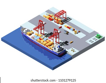 Vector isometric cargo port with two cranes unloading containers from container ship.