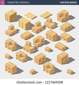Vector Isometric Carton Delivery Boxes. Isometric Carton Packaging Box Set with Postal Signs.