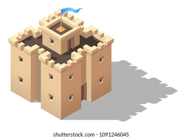 Vector isometric cartoon castle. Game design fortress concept.