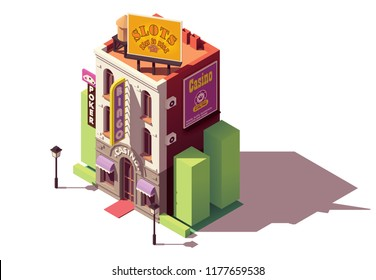 Vector isometric casino or gambling house building with neon sign and gambling advertising billboard