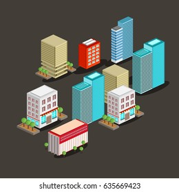 Vector isometric city with big ans small buildings