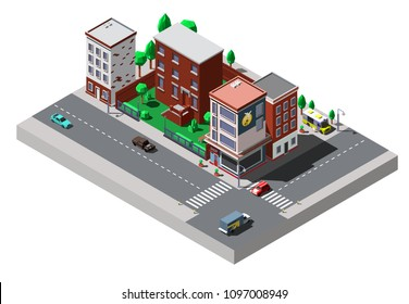 Vector isometric city buildings with cars and trees on the streets
