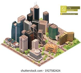 Vektorisometrische Stadt der Innenstadt. Zentrales Geschäftsviertel der Stadt. Das Stadtzentrum umfasst Wolkenkratzer, Gebäude, Büros, Parkplatz, Hotel, Bushaltestelle. Menschen und Verkehr auf der Straße.
