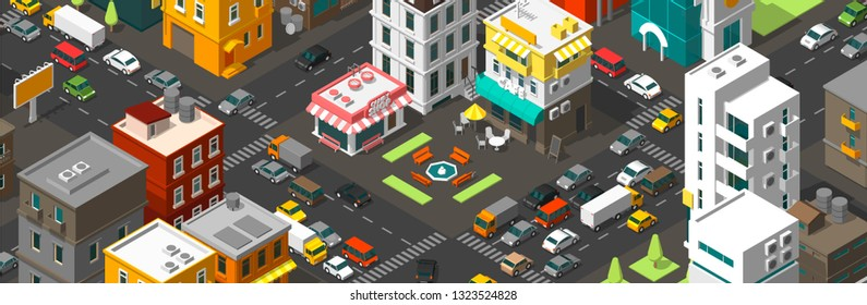 Vector isometric city horizontal banner. Cartoon town district. Street Intersection road 3d. Very high detail projection. Cars end buildings top view.