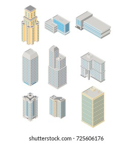 Vector isometric city  infrastructure architecture map generator. Icon set ofice, apartment buildings. 3d elements representing low poly building.