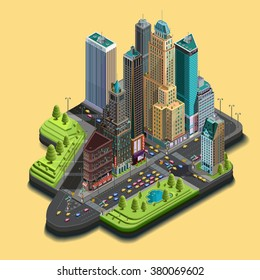 Vector isometric city map 3d, skyscraper district part of icons consisting of buildings, avenue, street intersections. Center building and park in the downtown. Top view
