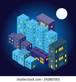 Vector isometric city at night in dark color and with moon.