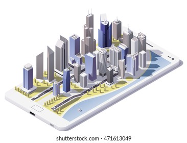 Vector isometric city on the smartphone screen