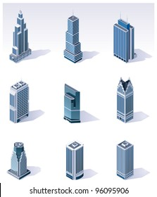 Vector isometric city skyscrapers buildings