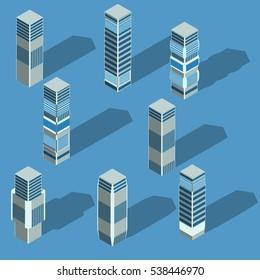 Vector isometric city skyscrapers,home
