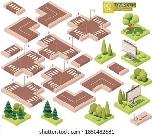 Vektorisometrische Stadtteile. Straßen, Kreuzung, Rasen, Bäume und Büsche. Bauelemente für die Isometrie von Stadt- oder Stadtplan