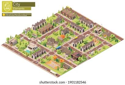 Vektor isometrische Stadt Vorstadt-Block. Gebäude, Häuser, Häuser, Stadthäuser und Cottages. Menschen und Verkehr auf der Straße.