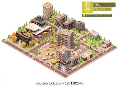 Vektorisometrische Stadt oder Stadtblock mit Baustelle und Busbahnhof. Gebäude, Häuser, Häuser und Büros. Menschen und Verkehr auf der Straße.