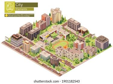 Vektorisometrische Stadt oder Stadtblock mit Schulgebäude. Gebäude, Häuser, Häuser und Büros. Menschen und Verkehr auf der Straße