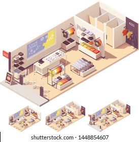 Vector isometric clothing store or fashionable boutique interior. Storefront, counter, clothes on the display stands and hangers, ,