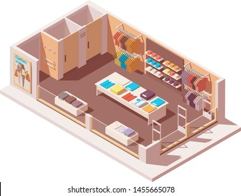 Vector isometric clothing store interior cutaway icon. Illustration Includes fitting rooms, shop furniture, anti-theft gates and clothes on the hangers