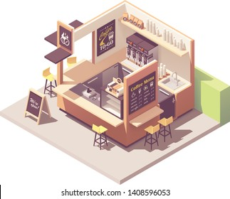 Vector isometric coffee shop or coffeehouse kiosk cross-section. Cafe interior with coffee machines, fridge, counter, cash register, blackboard menu
