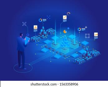Vektorisometrisches Konzept der Datenanalyse. Website-Layout für die Infrastruktur des Netzwerks. Techniker im Rechenzentrum oder im Rechenzentrum, Zimmerhintergrund. Computerspeicher- oder -zuchtstation.