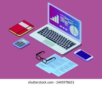 Vector isometric concept illustration of office work station. Desktop computer, glasses, phone, diagram, keyboard, finance stock infographic. EPS