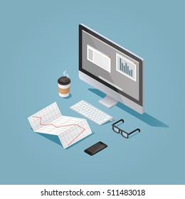 Vector isometric concept illustration of office work station. Desktop computer, glasses, phone, diagram, keyboard, cup of hot coffee, finance stock infographic.