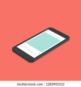 vector isometric concept smartphone with social network application background.