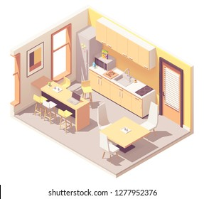 Vector isometric corporate office break room or kitchen. Kitchen furniture, fridge, microwave oven, sink, tables, chairs, stove