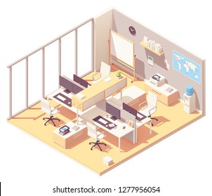 Vector isometric corporate office interior. Office furniture, cubicle desk, desktop computer with monitors, printer, water cooler, flip chart, world map with pins, stationery