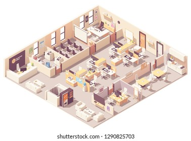 Vector isometric corporate office interior plan. Reception, elevator, conference room, presentation room, executive or CEO office, workplaces with computers, kitchen, relax area and office wquipment