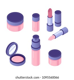 Vector isometric cosmetics accessories set. Different 3d instruments for professional makeup: blush, lipstick, foundation, and eye shadow.