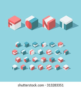 Vector isometric cubical alphabet. Latin typeface. No gradients and transparancy. Each letter can be used as logo or mark, for corporate and brand identity, or as an application icon.