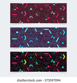 Vector isometric cyber techno banners design templates.