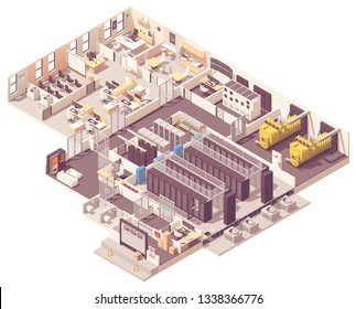 Vector isometric data center. Server room with hot and cold aisle containment, generator, UPS and battery rooms, CRAC unit with compressor, Network operations center and other equipment