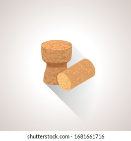 vector isometric design cork textured champagne wine plugs alcohol set isolated illustration brown background