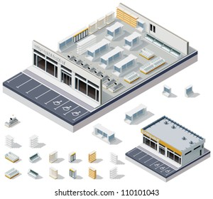 Vector isometric DIY supermarket interior plan. Image includes store cross-section, furniture and equipment