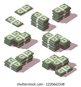 Vector isometric dollars stacked with different sides set. Money bundles scattered icons. Isolated on white background.