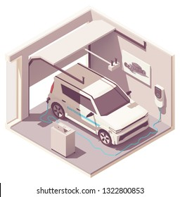 Vector isometric domestic garage cross-section with electric vehicle recharging by EV charging station