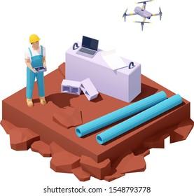 Estudio de drones isométricos vectoriales en la construcción. Ingeniero masculino trabajando con drones. Mapa del proyecto de laptop e ingeniería. Hombres trabajadores que utilizan vehículos aéreos no tripulados o vehículos aéreos no tripulados para el estudio de los emplazamientos de construcción de tierras