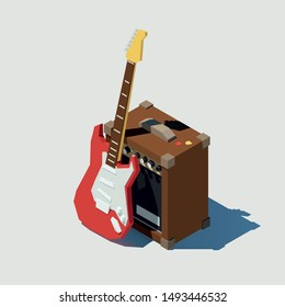 Vector isometric electric guitar and guitar combo. Low poly 3d vector illustration.
