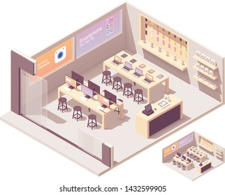 Vector isometric electronics store interior. Smartphones, computers, laptops, tablets, other gadgets and accessories on the shelves