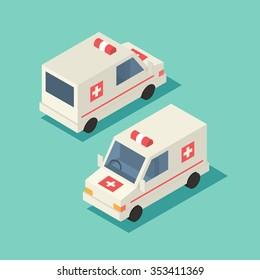 Vector isometric emergency car. Transport ambulance icon